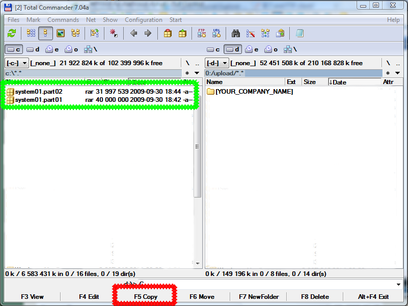 How to send oracle recovery files